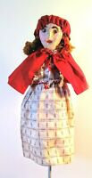 Vintage Handmade Folk Art Hand Puppet Cape Clothes Paper Mache Doll Hand Stitch