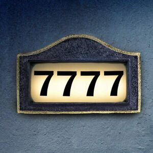Solar House Number Plaque, Address Signs for Houses, Bright Backlit LED Lights C