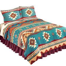 Southwest Cheyenne Aztec Native American Turquoise Fleece Lightweight Coverlet