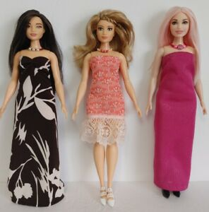 Fits CURVY BARBIE Clothes 6 Pc Lot of Dresses & Jewelry Fashions NO DOLLS d4e #1