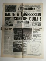 N397 La Une Du Journal L'humanité 18 avril 1961  agression contre Cuba