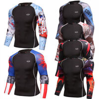 Mens Compression Tops Dri fit Long Sleeve Tights Athletic Base Layer Gym T-shirt