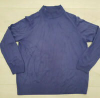 Ladies M&S Fine Knit High Neck Jumper Size 18 Blueberry Blue Stretch Long Sleeve