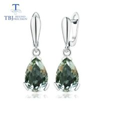925 Sterling silver natural gemstone 8.5 ct green amethyst fine earring jewelry