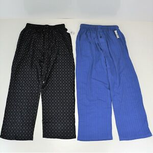 Joe Boxer Mens M Lounge Pajama Pants Bottoms 2 Pair Blue & Black Light Stretch