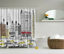 NY City View Digital Print Shower Curtain Yellow Taxi New York Cab Bath Decor
