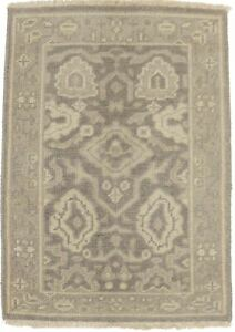 Muted Beige Small Entrance Floral 2X3 Chobi Oushak Area Rug Oriental Wool Carpet