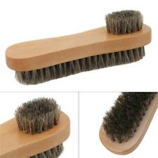 Dual Side Brush Boot Shoe Shine Buff Pig Bristle Hair Wood Handle Cleaner G