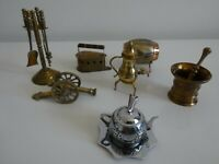Miniature x 7  Bronce Y Latón Mortar Iron Cannon Griddle Coffe maker Tea pot