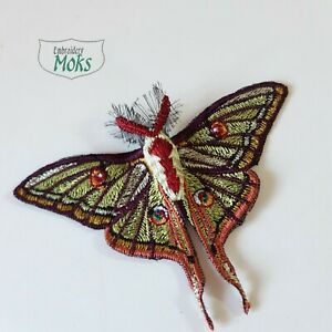 Spanish Moon Moth Handmade Sew-On Embroidered