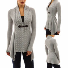 UK Womens Long Sleeve Knitted Sweater Jumper Ladies Knitwear Tops Cardigan Coat Gray 14