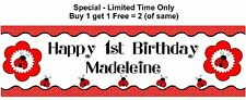 Personalised Baby GIRL Child 1st or any age Birthday Party Banner, RED LADYBUGS