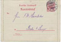 """DT.REICH """"ISERLOHN"""" K2 a. sehr selt. 10 Pf Adler Pra.-Kartenbrief m Ränder 1898"""