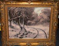 Oil canvas Hungarian Joseph Josef Dande` Impressionist Winter Sleigh ride scene