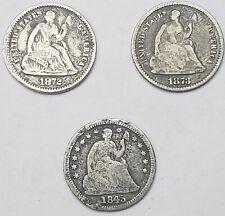 Lot of 3 Half Dimes - 1845,1872,1873- lot#2