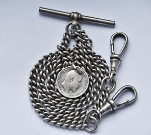 ANTIQUE DOUBLE ALBERT POCKET WATCH CHAIN + 1903 SILVER COIN FOB