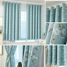 100x 200CM Flower Color Grommet Ring Top Blackout Window Curtain For Living Room
