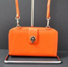 ili World Leather Smart Phone Wallet Crossbody Strap RFID Zip Slot Orange W23