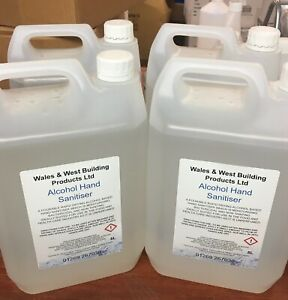 4x 70% Alcohol Hand Sanitiser Gel 5L Anti-bacterial 99.9% pump included New
