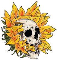 """3"""" Sunflower Psychedelic Skull Skeleton Biker Goth Flower Vinyl Cool Sticker"""