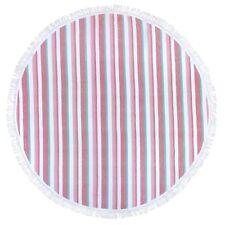 "Kaufman - 60"" Round Fouta Stripe Beach SAND-FREE Towel - 101375-PNK"