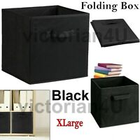 Folding Storage Canvas Box Foldable Collapsible Fabric Cubes Clothes UK