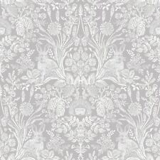 Harlen Woodland Damask Wallpaper Rolls Grey
