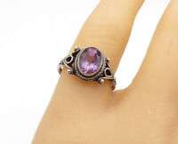 925 Sterling Silver - Vintage Amethyst Swirl Twist Ribbed Band Ring Sz 8- R15669