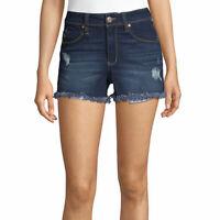 Ymi Women's Juniors High Rise Denim Shortie Shorts Size 13 Dark Wash Cutoff