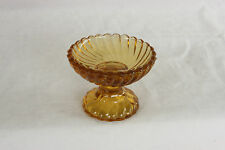 AMBER SIGNED PORTIEUX FRENCH PEDESTAL PRESSED GLASS OPEN SALT CELLAR DIP DISH