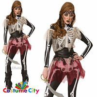 Womens Ladies Halloween Horror Skeleton Pirate Wench Fancy Dress Party Costume