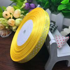 "NEW 10 yards 3/8"" ribbon (10 mm) lot print dots satin Fashion ribbon Yellow"