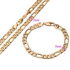 18k Gold Filled Figaro Link Fashion Men's Necklace Bracelet Set - N51cm
