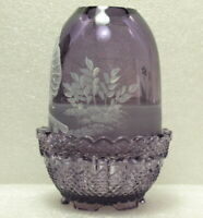 "FENTON PURPLE FAIRY LAMP ""LITTLE BOY WITH BAT/TURTLE"" MARY GREGORY HP/SIGNED"