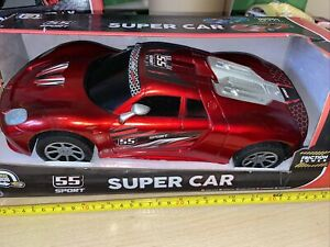 FRICTION POWER LARGE TOY CAR RED/BLUE LIGHTING DESIGN AGE 3+ REd 33CM
