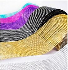 "4.5"" x 1yd Diamond Mesh Rhinestone Crystal Bling Ribbon Wrap Table Decoration"