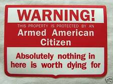 Warning Armed American Citizen Vinyl Window Decal Sticker Security Gun Rifle NRA
