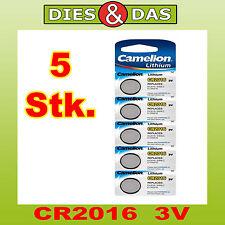 5 Pièces camelion CR2016 Lithium, 3V