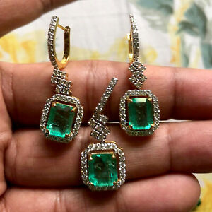 Emerald Cut Green Emerald Diamond Earrings & Pendant Set 18k Yellow Gold Jewelry