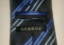George blue cross hatch polyester tie
