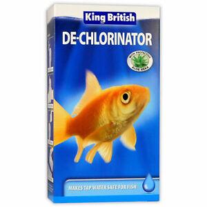 KING BRITISH DE-CHLORINATOR(100ml/250ml)REMOVES CHLORINE-MAKE TANK&aQUARIUM SAFE