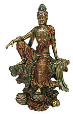 "Large Kuan Yin Sitting - Guanyin Quanyin Buddha Bronze Finish Statue - 15"" tall"