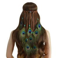 Peacock Feather Beaded Bohemian Hippie Hairband Headband Headdress Festival