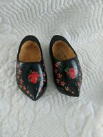 Vintage Doll Wooden Dutch Shoes Hand Made Painted Black Red Flowers