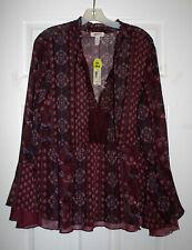 Arizona Jeans Juniors Plus 3X Burgundy Print Chiffon BOHO Top Blouse NWT