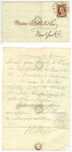 1850s folded letter Taunton Massachusetts Wetmore & Bowen to Willetts, New York