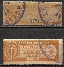 447d- VALENCIA FALANGE ESPAÑOLA Y DE LAS JONS.2 SELLOS 3 PESETAS DIFERENTES.1939