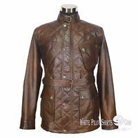 Leather Jacket for Men Military Vintage Distress Antique Dark Brown Belt Panther