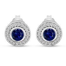 Platinum Blue Sapphire And Diamonds Stud Earrings 0.92 Carat Micro Pave Handmade