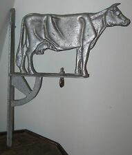 VINTAGE 1940's DESIRABLE METAL COW ON MOUNTING RACK FARM HOUSE FIND VT